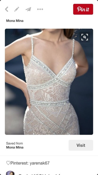 dress mona mina wedding dress prom dress debutante designer dress designer lace diamonds cream dress pink occasion strapped dress formal dress wedding clothes