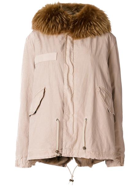 Mr & Mrs Italy coat parka fur fox women drawstring nude cotton