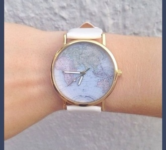 jewels horloge clock world map watch gold