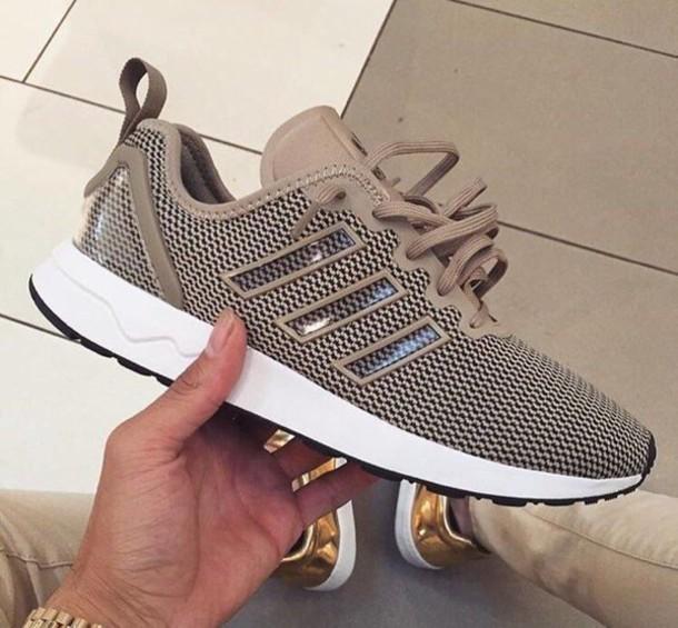 shoes, tan sneakers, adidas, adidas