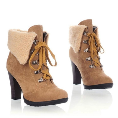 Free ship womens block high heels lace up ankle boots warm faux fur winter shoes