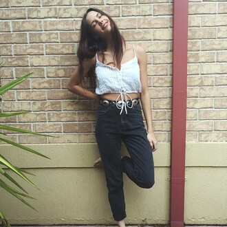 top cotton top white cotton top black jeans skinny jeans tie top western belt western blackw monochrome singlet crop cotton crop pleated crop pleated top tie up top peasant top hippie bohemian bohomeian hipster indie club scene clubwear festival streetstyle casual belt