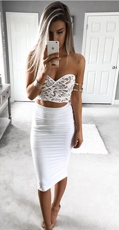top,white,lace top,crop tops,strapless,white dress,strapless dress,two piece dress set,bodycon,bodycon dress,party dress,sexy party dresses,sexy,sexy dress,party outfits,sexy outfit,summer dress,summer outfits,spring dress,spring outfits,fall dress,classy dress,elegant dress,cocktail dress,cute dress,girly dress,date outfit,birthday dress,clubwear,club dress,homecoming,homecoming dress,wedding clothes,wedding guest,engagement party dress,prom,prom dress,short prom dress,graduation dress,formal,formal dress,formal event outfit,romantic dress,romantic summer dress,summer holidays,holiday dress,pool party