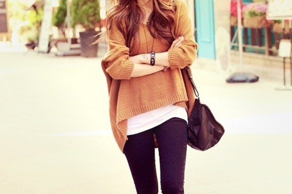sweater oversized sweater large oversize brown pullover cute sweaters short front long back lazy cool girl style