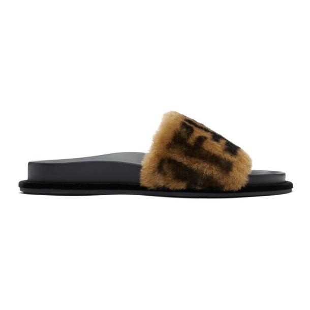 Fendi Black & Beige Shearling 'Forever Fendi' Slides