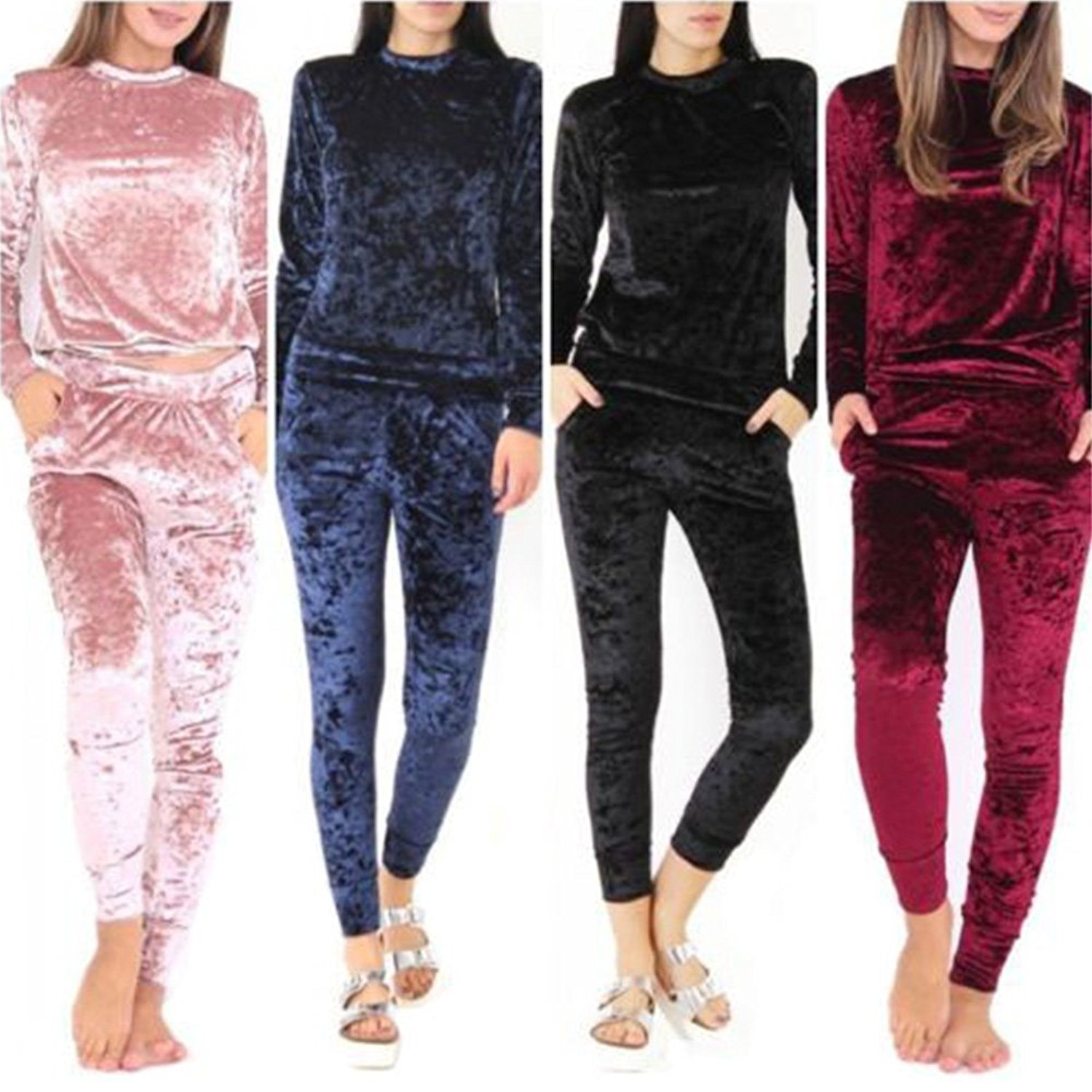 Amazon.com: ZNU Womens Casual Velvet Sweatshirt Pants Set Lady Tracksuit Jogging Sport Suit: Clothing