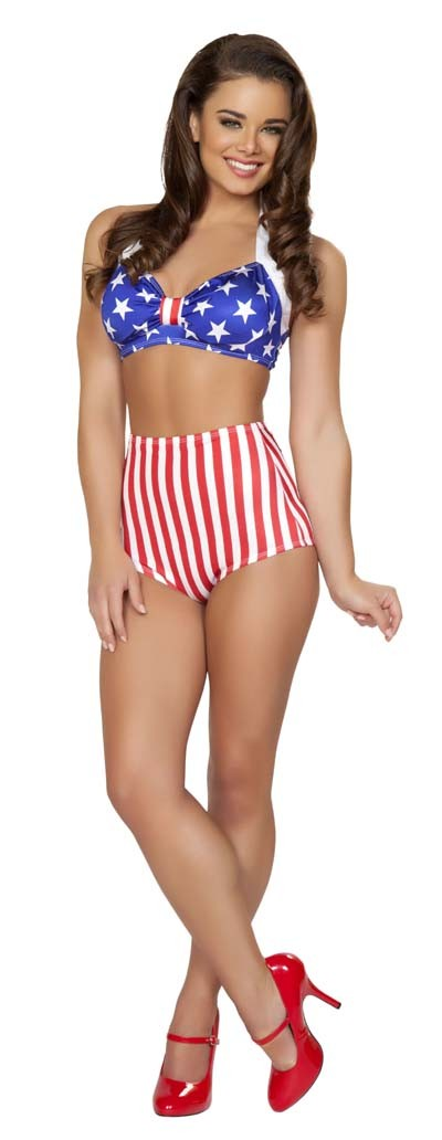 American Flag High Waisted Swimsuit Shorts Amiclubwear