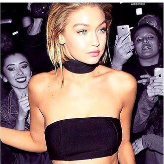 choker necklace bikini top black bandeau celebrity gigi hadid gigi hadid style