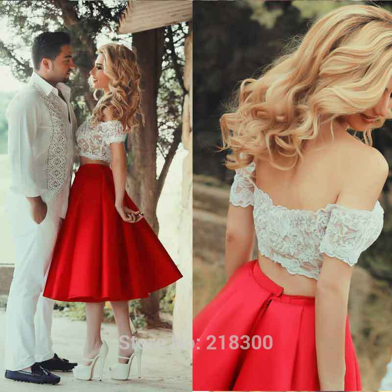 7b69f500d89 Aliexpress.com   Buy Crop Top Red Prom Dresses Tea Length Off the Shoulder  Two Pieces White Homecoming dresses Cocktail ...