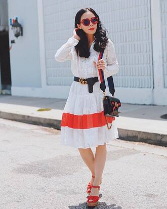 dress tumblr midi dress white dress long sleeves long sleeve dress sandals wedges wedge sandals sunglasses red sunglasses bag belt shoes