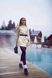 kayture,blogger,jacquard,gold,mini dress,new year's eve,dress,bag,shoes,coat
