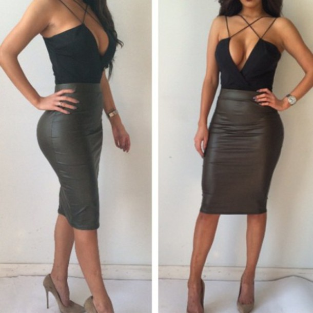 top bodysuit black vue boutique plus skirt dress black dress style leather fashion faux leather urban chic sexy cute dress bodycon dress blouse olive leather skirt skirt