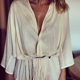 dress bone white blouse top white cream blouse cute summer fashion lace beige tan brown chiffon romper pantsuit jumpsuit nude gold tumblr pretty shorts girly chic fashionista flowers