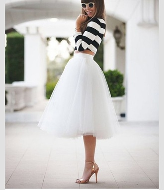 skirt cream white skirt ballerina tulle skirt