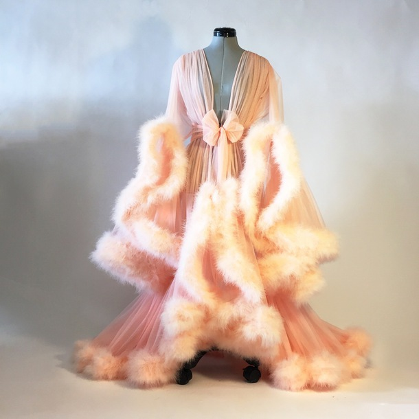 Feather Dressing Gown: Dress, Pink, Marabou Feather, Dressing Gown, Girlpower