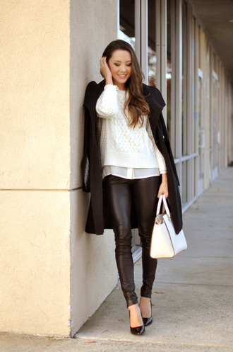 blogger hapa time leather pants winter coat winter outfits knitted sweater