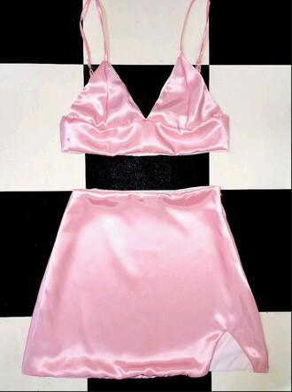 skirt two-piece silk pink