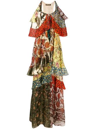 dress maxi dress maxi ruffle women silk red
