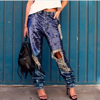 jeans sequins sequin pants denim boyfriend glitter boyfriend jeans sparkles shiny style
