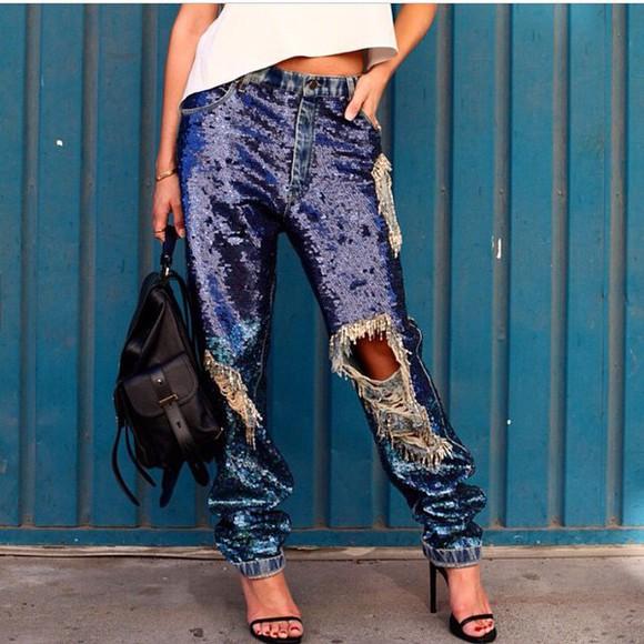 shiny jeans sequins sequin pants denim boyfriend glitter boyfriend jeans sparkles style