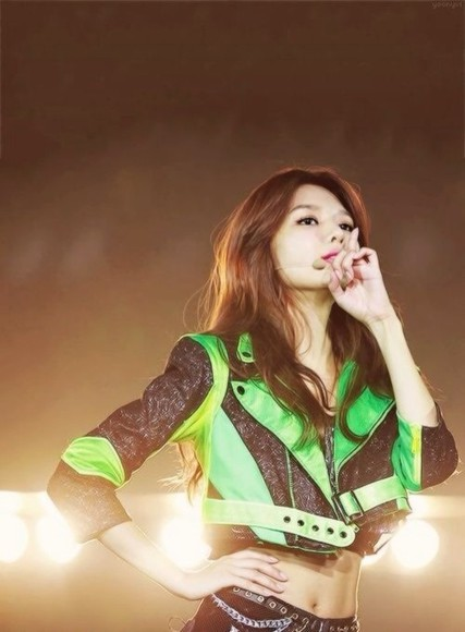jacket perfecto black girls generation green crop