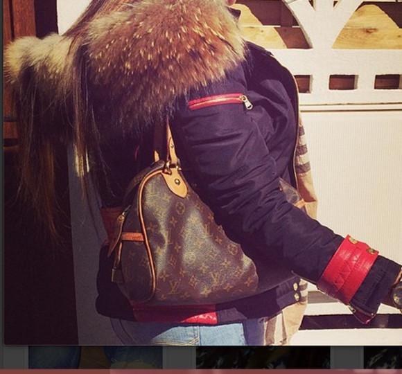 coat fourrure doudoune bleu rouge