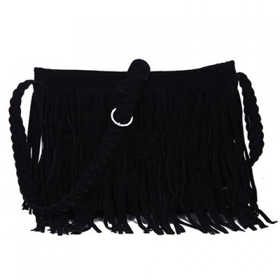 Plush black fringe shoulder bag · love, fashion struck ·