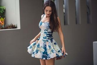 dress teal dress floral dress skater dress