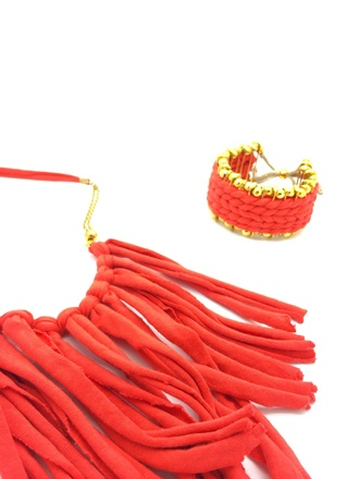 jewels cuff bracelet orange jewellery fringe necklace
