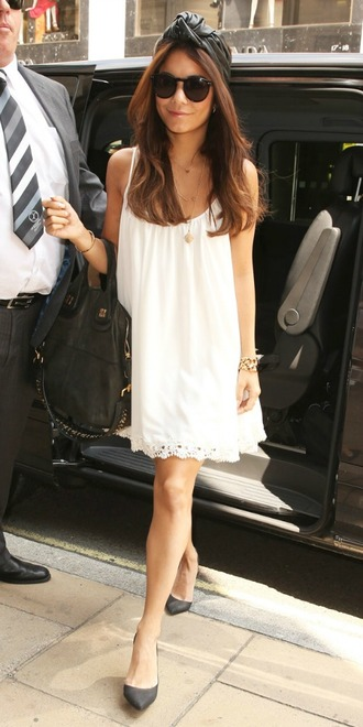 dress vanessa white scalloped slouchy indie boho cream vanessa hudgens shift dress hippie bag hair accessory