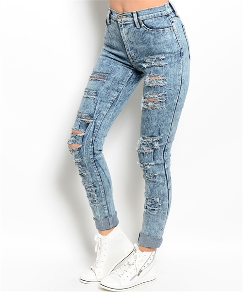 Lethalbeauty ? blue distressed mineral wash jeans