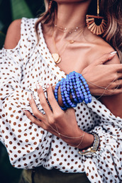 jewels,bracelets,earrings,polka dots top,jewelry,accessories,Accessory