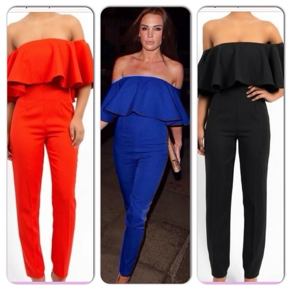 pants off shoulder jumpsuit
