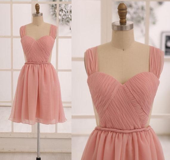 Pink/Champagne Chiffon Bridesmaid dress/Prom Dress See Through ...