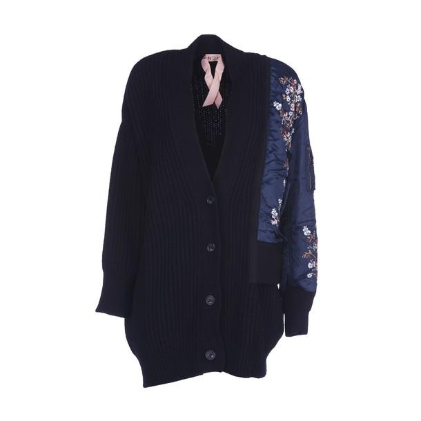 N.21 cardigan ribbed cardigan cardigan embroidered black sweater