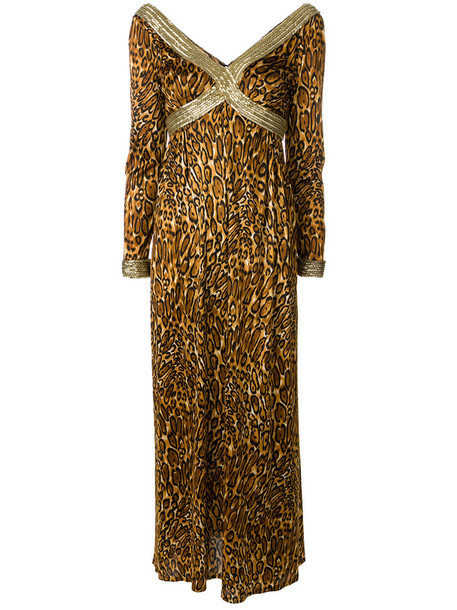 dress maxi dress maxi women print brown leopard print