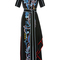 Embroidered cady mock neck dress | moda operandi