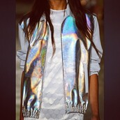 jacket,holographic,letterman,bomber jacket,nastygal,shirt