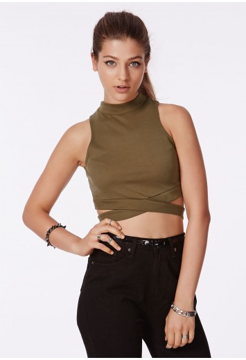 Missguided - Naira High Neck Crop Top With Bandage Waist Khaki
