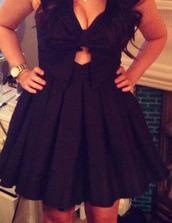 dress,bow,cut-out,skater,little black dress