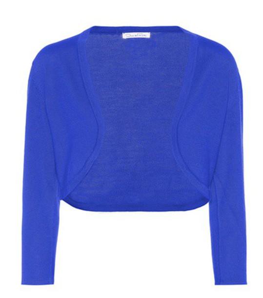 oscar de la renta cardigan cardigan silk blue sweater