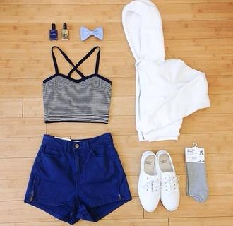 t-shirt stripes crop tops american apparel shorts shoes nail polish jacket
