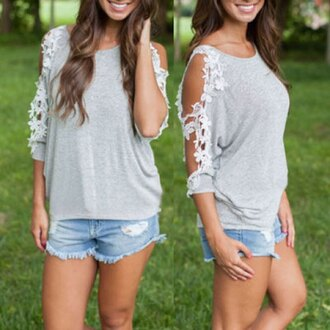 top shirt gray lace lace sleeves grey sweater spring summer cut-out fashion style long sleeves cute outfits summer top