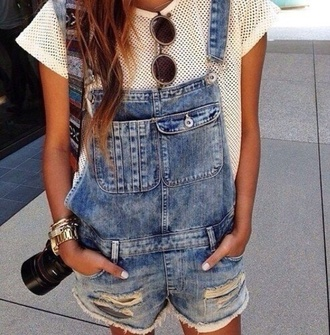 top t-shirt holes tumblr indie pretty dungarees hipster earphones