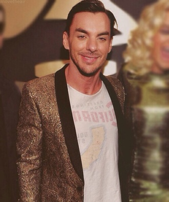 jacket gold glitter celebrity shannon leto shannon leto thirty seconds to mars drummer menswear