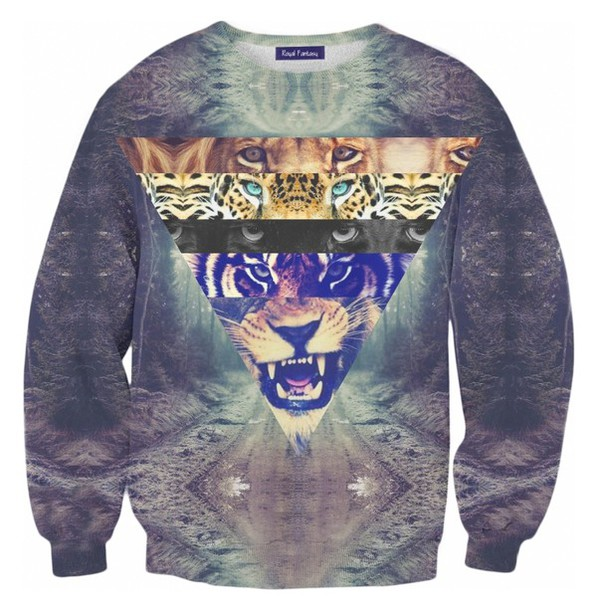 blouse swag cats dark lion tiger shirt tiger hipster glaxay rawr printed sweater animal face print