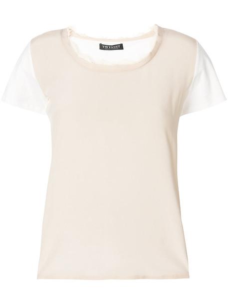 Twin-Set t-shirt shirt t-shirt women nude cotton silk top