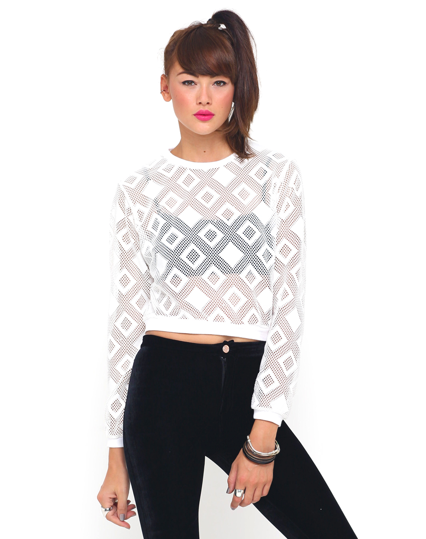 Buy Motel Frydah Long Sleeve Top in Diamond Net White at Motel Rocks