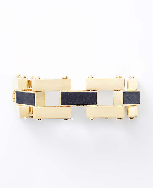 Estate Leather Inlay Square Link Bracelet