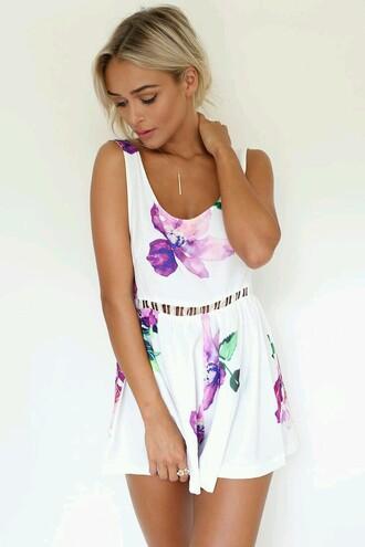 romper jumpsuit dress floral floral dress summer dress white white romper open back flare skater skirt flowers